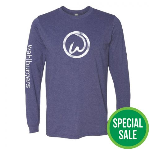 Heather Blue  Long Sleeve Wahlburger's Tee