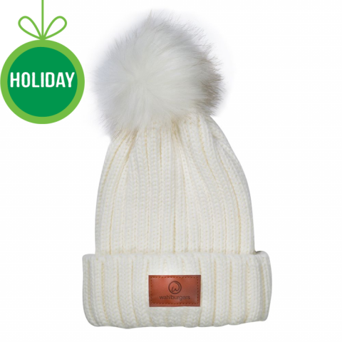 Knit Hat with Faux Fur Pom Pom